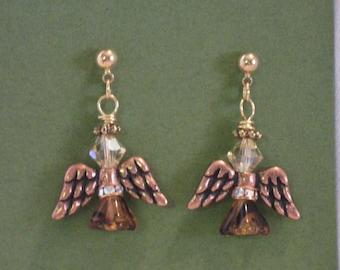 """Swarvoski Angel Earrings...1 1/4"""" studs..tortise with copper wings"""