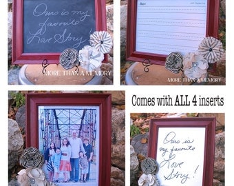4-in-1 Chalkboard & Dry-Erase Frame: Colonial Red