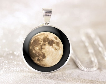 Sterling Silver Moon Necklace - Astronomy Necklace, Full Moon Jewelry, Genuine Silver Moon Pendant, Space Jewelry, Geek Gift, Space Necklace