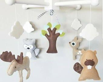 Baby Crib Mobile-Woodland Animals Crib Mobile-Custom Made Mobiles-Forest Animals Mobile