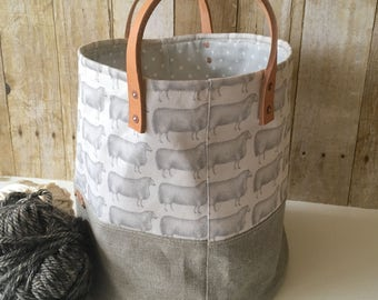 Yarn Storage Bin, Extra Large Carryall, Sheep Print