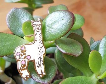 Alpaca Illustrated Enamel Lapel Pin Brooch