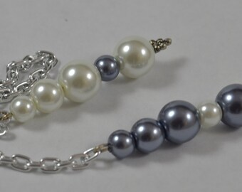Pendulum:  Glass Pearls in White & Gray