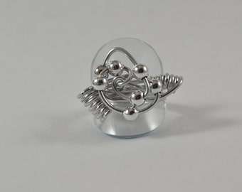 Ring, Size 10.5:  Aluminum Wire w/ Beads and Coils