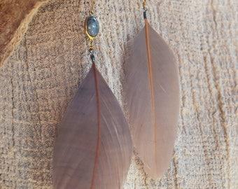 Malva Dusty Feather Labradorite Earrings