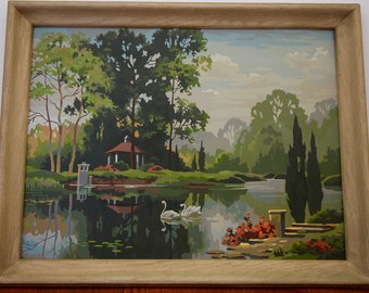 Tranquil Reflections Paint By Number Framed Picture Dated 1965