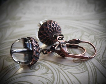 Witchy Woodland Acorn Earrings in Quartz Crystal or Agate Stone