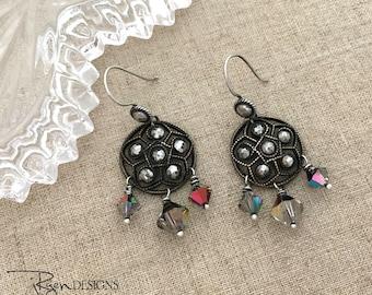 Everyday Dangle Earrings - Vintage Repurposed Button Earrings - Crystal Dangle Earrings - Silver Everyday Round Earrings - One of a Kind