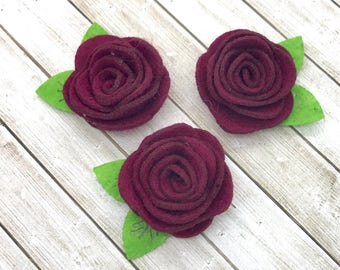 "2"" felt rosette with leaf, BURGUNDY felt rose flowers, small felt flowers, DIY headband supplies, hair supply, wholesale fabric flowers felt"