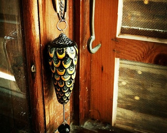 Nightingale - ooak clay pendant necklace. Handpainted, black glass