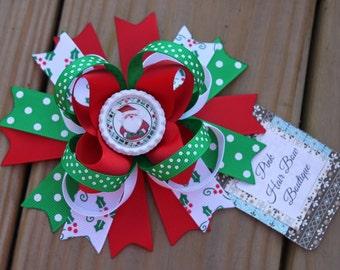 Adorable Christmas Hair bow , Santa clause hair bow, holiday hair bow, Christmas hairbow , 5 inch hair bow, hair bows for girls