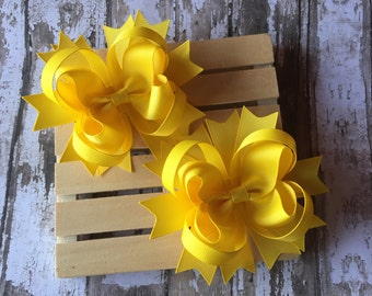 Set of two yellow pigtail hair bows , yellow hair bows , pigtail hair bows, hair bows for girls