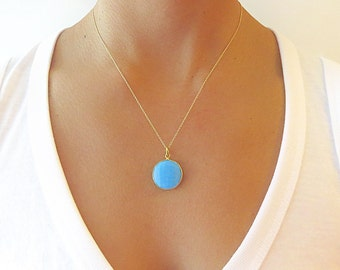 Turquoise Round Pendant Necklace - Gold Necklace - Turquoise Jewelry - Pendant Necklace