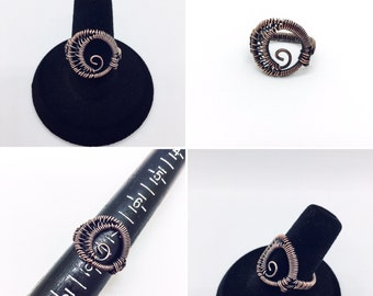Copper Wire Wrapped Swirly Moon Ring - Size 7.5
