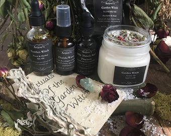 Garden Witch Altar Kit ~ Anointing Oil, Smudge Spray, Spell Candle, Herb Bundle, Crystal, Herb Salt, Ritual ~ Rose Lavender Sage Cottage