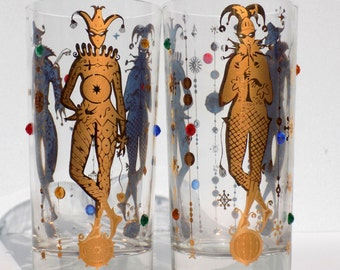 Culver Mardi Gras Pattern 22k Gold New Orleans Jester Theme Highball Glasses, 1960s  Hollywood Regency Jeweled Barware, Sets of 2