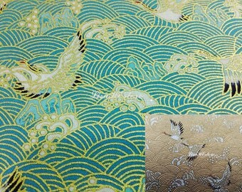 Crane and troubled water, gold metallic, 1/2 yard, pure cotton fabric