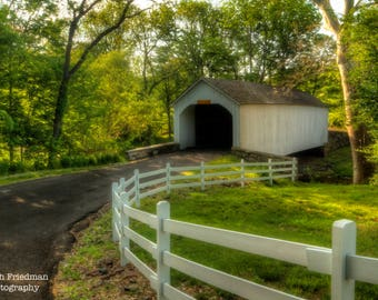 Loux Covered Bridge with White Fence, Landscape Photograph, Spring, Bucks County, Pennsylvania, Photography, Historic, Green, Art Print