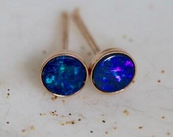 Australian Opal Earring Studs - Genuine Opal Doublet Post Rose Gold Vermeil Earrings - 4mm Navy Blue Opal Bezel Stud Earrings