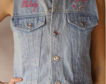 SALE Vintage blue denim Vest S