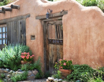Southwestern Door Photography Print Fine Art New Mexico Santa Fe Rustic Adobe Flowers Southwest Autumn Landscape Photography Print.