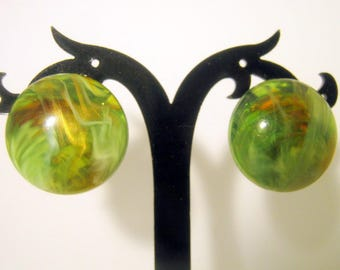 Clip On Earrings, Vintage Green Swirl Lucite Earrings, Made in Germany, Fashion Jewelry