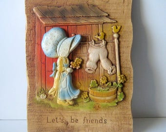 Vintage Holly Hobbie Let's be Friends Wall Plaque