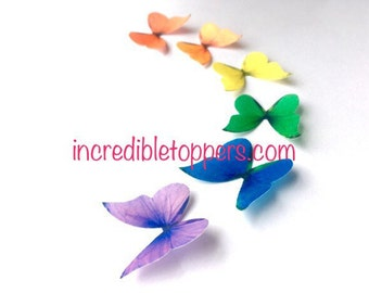 Rainbow Cake Topper,  Edible Butterflies for Birthdays and Weddings - Mini Rainbow Butterfly Cupcake Decorations