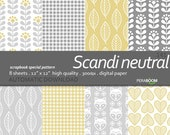 Gray Scandinavian Digital Paper, Beige Digital Paper, Scandi Digital Paper, Nordic Digital Paper with Light Neutral Backgrounds,Sandy Floral