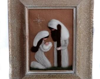 Felted Nativity - Waldorf Nativity - Nativity Scene - Framed Nativity - Ready to Ship