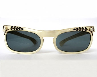 1950's / 1960's French Mother of Pearl Hand Painted Pearl Embellished Sunglasses - VLV