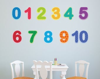 Preschool Number Decals 0-10, Baby and Toddler Number Wall Stickers (#1296-17)