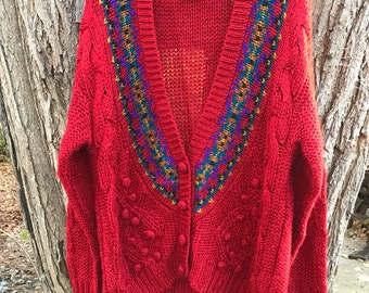 Amazing 80s Chunky Oversized Red Hipster Cardigan by IVY Size Small