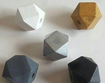 Wooden Geometric Polyhedron Faceted Bead x5 - Monochrome, Metallic Gold & Silver Mix - Medium 20mm