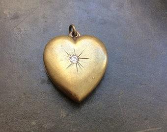 Puffed brass heart pendant