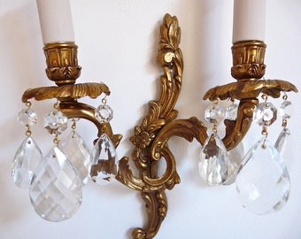 RESERVED     For US Bulb French Vintage Crystal Sconce -  Sconce French Antique Wall lighting  - Crystal Sconce - french Golden Sconce