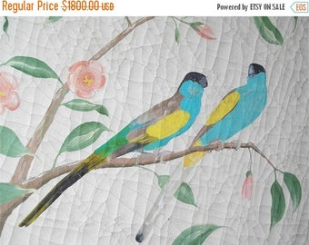ON SALE for a week Unique original oil painting distressed Hummingbirds and parrots