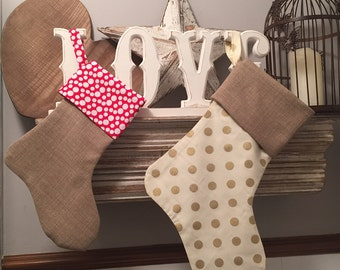 Handmade Christmas Stockings - Larger size - Christmas Decoration - Personalised with Wooden Letter, Any Letter available