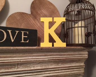 Hand-painted Wooden Letter K - Freestanding - Rockwell Font - Various sizes, finishes and colours