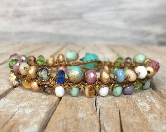 Beaded boho bracelet - Hippie bracelet - Boho crochet bracelet - Boho Hippie Stackable Bracelet - artisan beaded bracelet - yoga boho