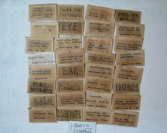 Antique Pharmacy Labels ~ Vintage Bottle Labels ~ Old Medicine Labels ~ Collage Papercraft ~ Ephemera