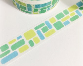 Watercolor Blocks Lime Green Teal Blue Squares Triangles Hand Painted Blocks Washi Tape 11 yards 10 meters