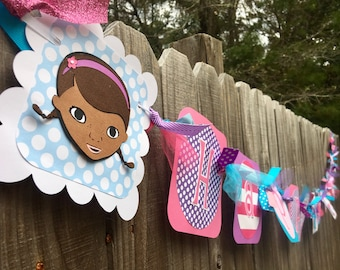 Doc McStuffins (Pink, Purple, Blue) Happy (Age) Birthday Banner