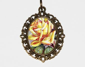 Yellow Rose Necklace, Flower Jewelry, Victorian Roses, Friendship, Joy, Bronze Oval Pendant, Gift For Friend