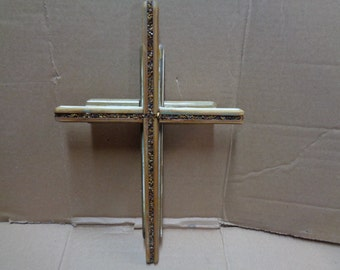 Reclaimed Barn wood layered double Wooden Cross with tiger eye gemstone
