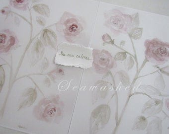 WASHED ENGLISH ROSES 11 x 14 Large Watercolor Print Rose Floral Botanical Seawashed Shabby Chic French Nordic Jeanne D Arc Living