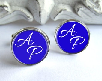 Royal Blue Cufflinks, Personalized Monogram Cufflinks, Customizable With Your Color