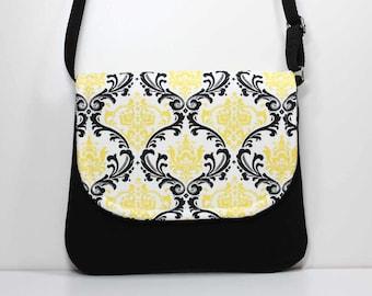 Small Foldover Crossbody Bag - Yellow and Black Damask Small Shoulder Purse - Sling Bag Hobo Bag Cross Body Bag Hipster Bag - Ready to Ship