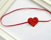 Valentines Headband - Red Heart Headband - Baby Heart Headband - Glitter Heart Headband - Valentines Headband - Baby Valentines Headband