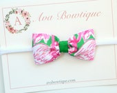 Lilly Pulitzer Inspired Bow Headband, Pink Colony Flamingo Bow Headband, Baby Bow Headband - Baby Lilly P Headband